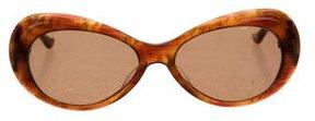 Judith Leiber Embellished Oval Sunglasses