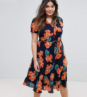 Alice & You Split Shoulder Tea Dress In Floral Print