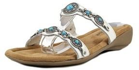 Minnetonka Ratan Slide W Open Toe Canvas Wedge Sandal.