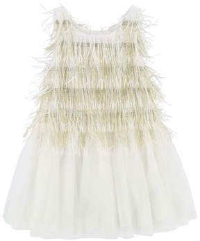 Billieblush Sleeveless Tulle & Fringe Dress, Size 3-8