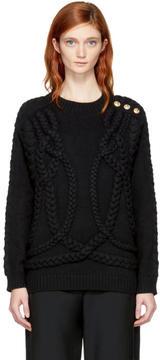 Balmain Black Wool Cable Knit Sweater