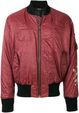 No.21 floral embellished bomber jacket