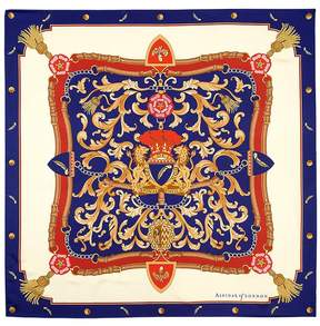 Aspinal of London Signature Shield Silk Scarf In Blue