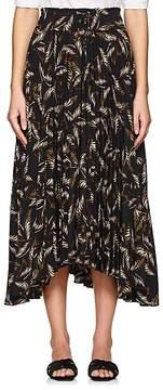 A.L.C. Women's Maya Pleated Palm-Leaf-Print Charmeuse Skirt