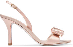 Rene Caovilla Crystal And Bow-embellished Satin Slingback Sandals - Neutral