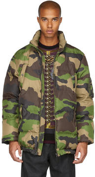 Moschino Green Camo Down Coat