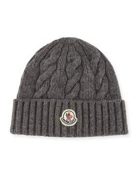Moncler Men's Cable-Knit Wool Beanie Hat