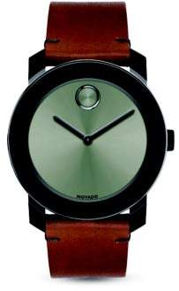 Movado Bold Stainless Steel and Leather Strap Quartz Watch