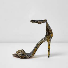 River Island Womens Black jacquard floral barely there sandals