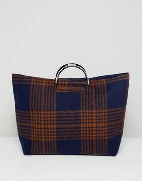Asos DESIGN felt check shopper bag