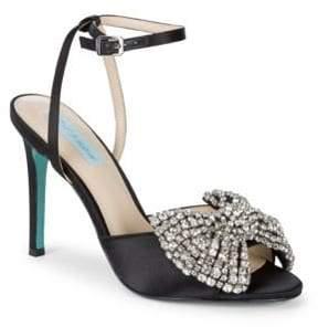 Betsey Johnson Heidi Embellished Satin Stiletto Sandals