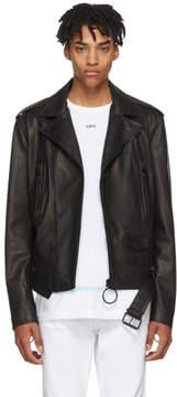 Off-White Black Leather Firetape Biker Jacket