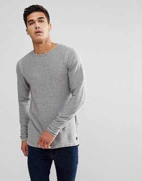 Blend of America Waffle Sweater in Gray