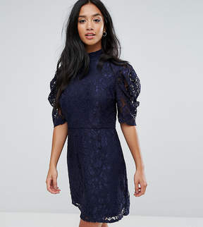 Fashion Union Petite High Neck A Line Dress In Lace