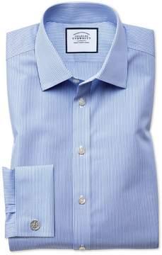 Charles Tyrwhitt Classic Fit Non-Iron Bengal Stripe Sky Blue Cotton Dress Shirt French Cuff Size 15.5/32