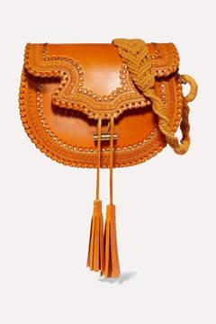 Ulla Johnson Rhita Studded Embossed Leather Shoulder Bag - Yellow