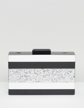 Liquorish Glitter Striped Clutch