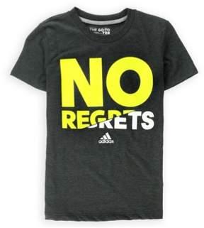 adidas Girls No Regrets Graphic T-Shirt Grey S - Big Kids (8-20)