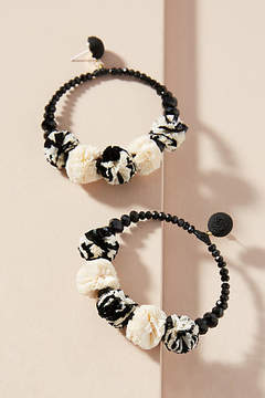 Anthropologie Raffia Pom Hoop Earrings