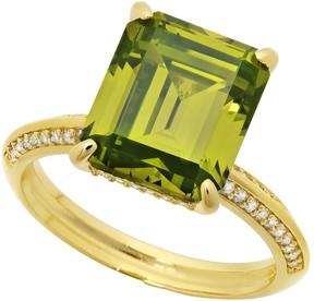 Crislu In Vogue 18K Gold Plated Sterling Silver Prong Set Asscher Cut CZ Pave Ring