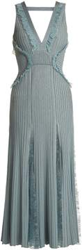 Elie Saab Deep-V neck ribbed-knit midi dress
