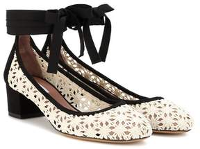 Tabitha Simmons Minnie Daisy crochet and suede pumps