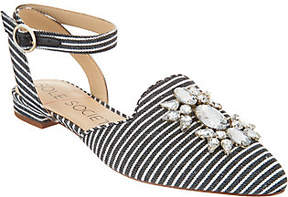 Sole Society Embellished Pointed Toe Flats w/Strap - Pearla