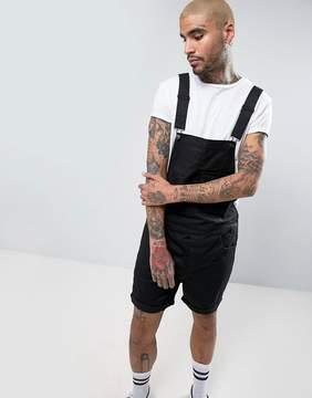 Asos Short Overalls In Black Twill