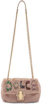 Dolce & Gabbana Pink Eco Fur Studded Logo Shoulder Bag