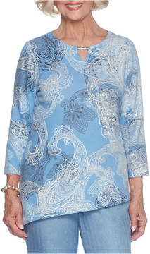 Alfred Dunner Silver Belles 3/4 Sleeve Crew Neck Paisley T-Shirt-Womens
