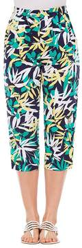 Allison Daley Rivets Tab Hem Detail Palm Print Pull-On Capri Pants