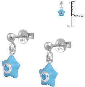 Ice Sterling Silver Dangling Star Earrings for Girls