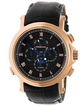 Heritor Kingsley Black Engraved Pattern Moonphase Dial Rose Gold-tone Case Black Leather Strap Automatic Men's Watch