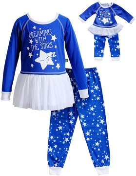 Dollie & Me Girls 4-14 Dreaming With The Stars Star Top & Bottoms Pajama Set