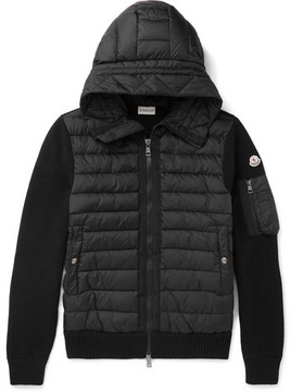 Moncler Maglione Wool-Blend And Quilted Shell Hooded Down Jacket
