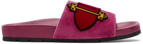 Prada Pink Velvet Belt Slides