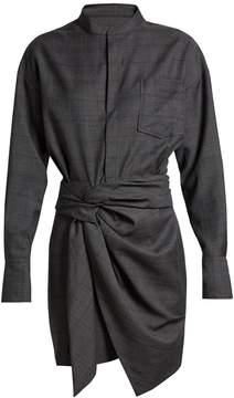 Etoile Isabel Marant Nola draped-front Prince of Wales-checked dress