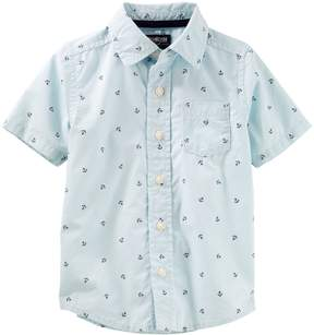 Osh Kosh Oshkosh Bgosh Toddler Boy Nautical Anchor Button Down Shirt