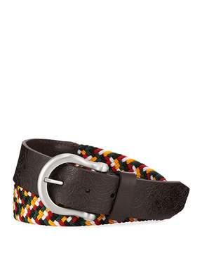 Robert Graham Woven Leather-Trim Belt