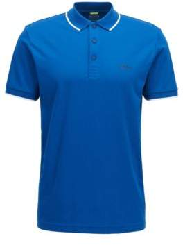 BOSS Hugo Tipped Cotton Blend Polo Shirt, Slim Fit PL Tech S Blue