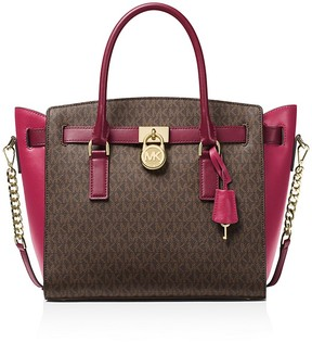 MICHAEL Michael Kors Hamilton East/West Logo Large Satchel - PINK MULTI/GOLD - STYLE
