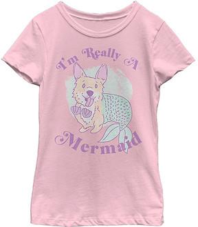 Fifth Sun Pink 'I'm Really a Mermaid' Corgi Crewneck Tee - Girls