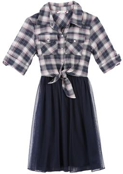 Speechless Girls 7-16 Plaid Top & Tulle Skirt Fit and Flare Dress