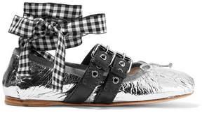 Miu Miu Lace-up Metallic Leather Ballet Flats - Silver