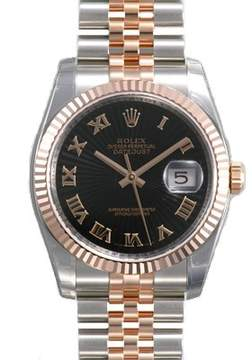 Rolex Oyster Perpetual Datejust 36 Black Sunburst Dial Stainless Steel and 18K Everose Gold Jubilee Bracelet Automatic Men's Watch