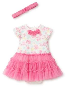 Little Me Baby Girl's Three-Piece Floral Headband, Dress and Bloomer Set