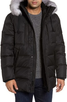 Andrew Marc Men's Quilted Down Jacket With Genuine Fox Fur Trim