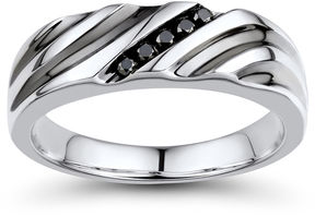 Black Diamond FINE JEWELRY Mens 1/10 CT. T.W. Color-Enhanced Sterling Silver Wave Comfort Fit Ring
