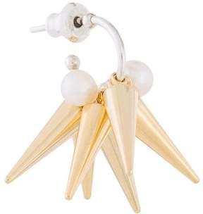E.m. pearl spike hoop earring