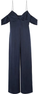 Zimmermann Cold-shoulder Washed-silk Jumpsuit - Navy